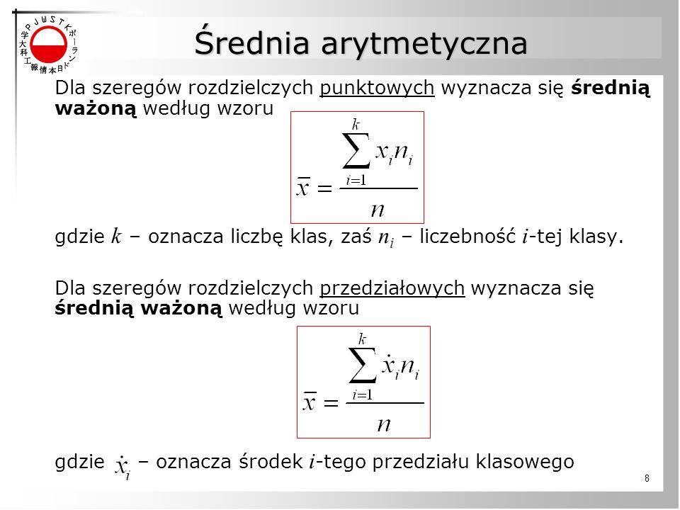 """19 Kwartyle Kwartyle dzielą uporządkowane dane na 4 równe pod względem liczebności grupy 25% Uporządkowana próbka: 11 12 13 16 16 17 18 21 22 Przykład: Pierwszy kwartyl (n = 9) Mediana = 16 Q1 = 25 th percentyl, znajdź medianę z """"mniejszej połowy próbki więc Q1 = 12.5 Q1Q2Q3"""