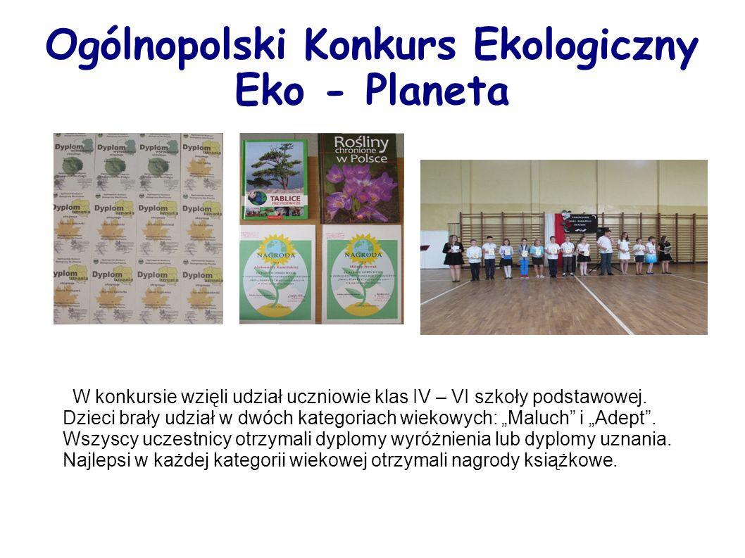 Ogólnopolski Konkurs Ekologiczny Eko - Planeta W konkursie wzięli udział uczniowie klas IV – VI szkoły podstawowej.