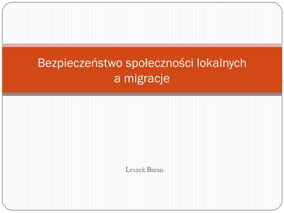 Bezpieczeństwo społeczności lokalnych a migracje Leszek Baran