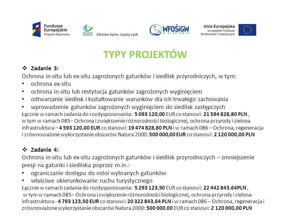 TYPY PROJEKTÓW  Zadanie 3: Ochrona in-situ lub ex-situ zagrożonych gatunków i siedlisk przyrodniczych, w tym: ochrona ex-situ ochrona in-situ lub res