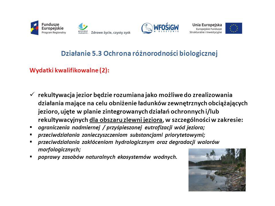 Działanie 5.3 Ochrona różnorodności biologicznej Wydatki kwalifikowalne (2): rekultywacja jezior będzie rozumiana jako możliwe do zrealizowania działania mające na celu obniżenie ładunków zewnętrznych obciążających jezioro, ujęte w planie zintegrowanych działań ochronnych i/lub rekultywacyjnych dla obszaru zlewni jeziora, w szczególności w zakresie:  ograniczenia nadmiernej / przyśpieszonej eutrofizacji wód jeziora;  przeciwdziałania zanieczyszczeniom substancjami priorytetowymi;  przeciwdziałania zakłóceniom hydrologicznym oraz degradacji walorów morfologicznych;  poprawy zasobów naturalnych ekosystemów wodnych.