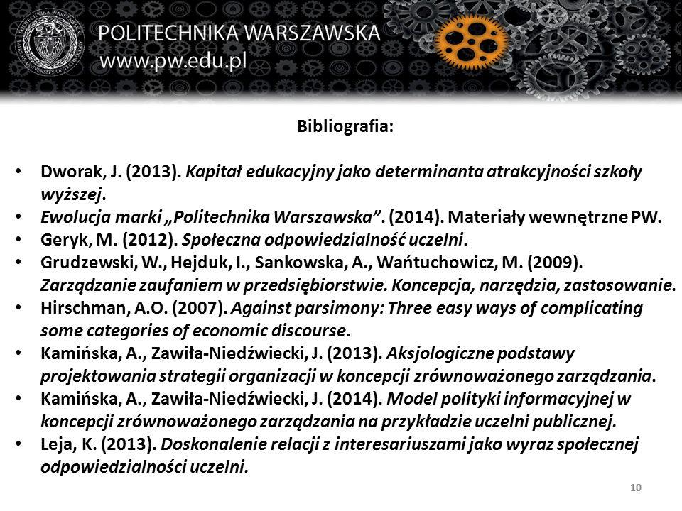 """10 Bibliografia: Dworak, J. (2013). Kapitał edukacyjny jako determinanta atrakcyjności szkoły wyższej. Ewolucja marki """"Politechnika Warszawska"""". (2014"""