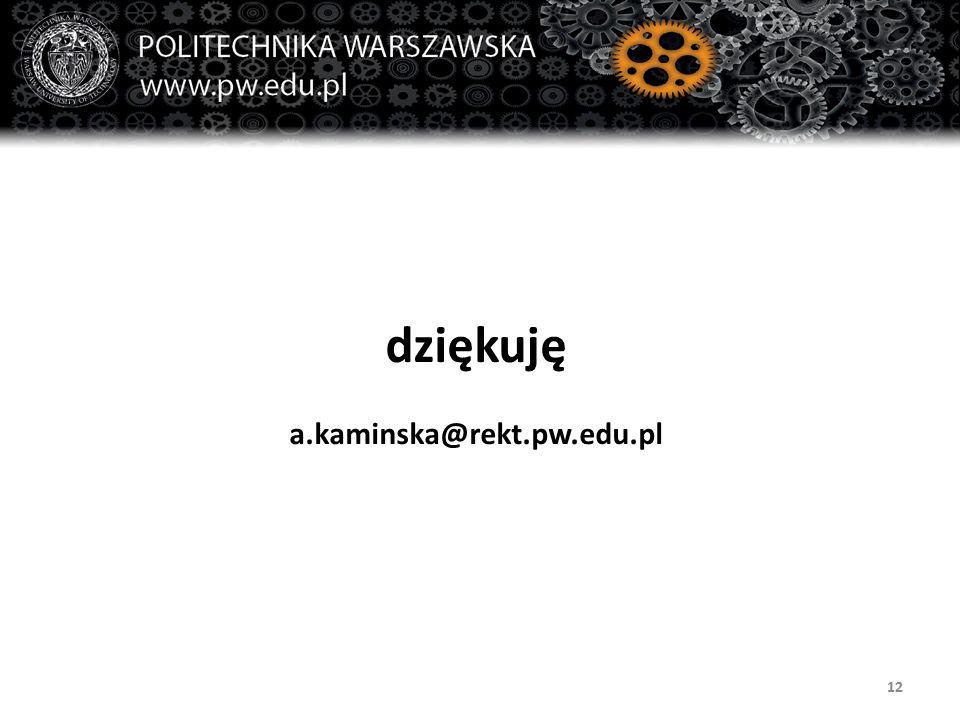 dziękuję a.kaminska@rekt.pw.edu.pl 12