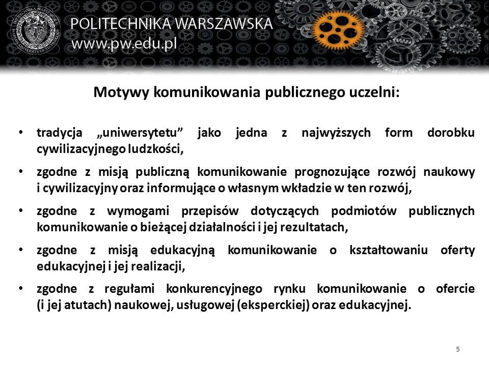 """5 Motywy komunikowania publicznego uczelni: tradycja """"uniwersytetu jako jedna z najwyższych form dorobku cywilizacyjnego ludzkości, zgodne z misją publiczną komunikowanie prognozujące rozwój naukowy i cywilizacyjny oraz informujące o własnym wkładzie w ten rozwój, zgodne z wymogami przepisów dotyczących podmiotów publicznych komunikowanie o bieżącej działalności i jej rezultatach, zgodne z misją edukacyjną komunikowanie o kształtowaniu oferty edukacyjnej i jej realizacji, zgodne z regułami konkurencyjnego rynku komunikowanie o ofercie (i jej atutach) naukowej, usługowej (eksperckiej) oraz edukacyjnej."""