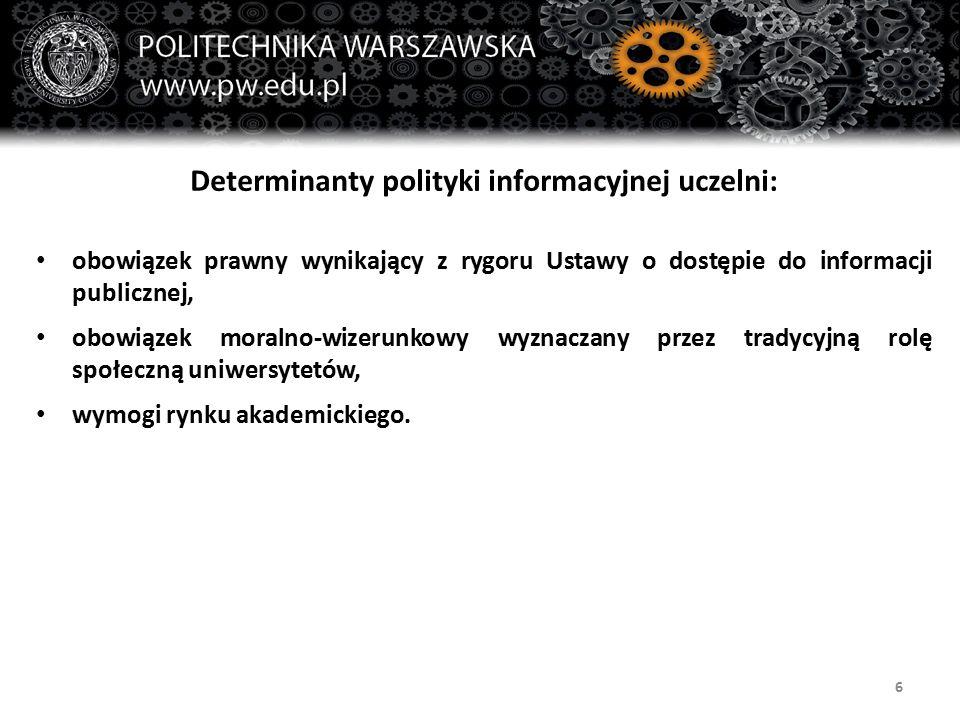 6 Determinanty polityki informacyjnej uczelni: obowiązek prawny wynikający z rygoru Ustawy o dostępie do informacji publicznej, obowiązek moralno-wize
