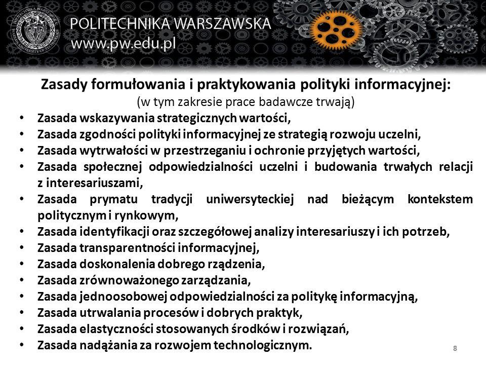 8 Zasady formułowania i praktykowania polityki informacyjnej: (w tym zakresie prace badawcze trwają) Zasada wskazywania strategicznych wartości, Zasad