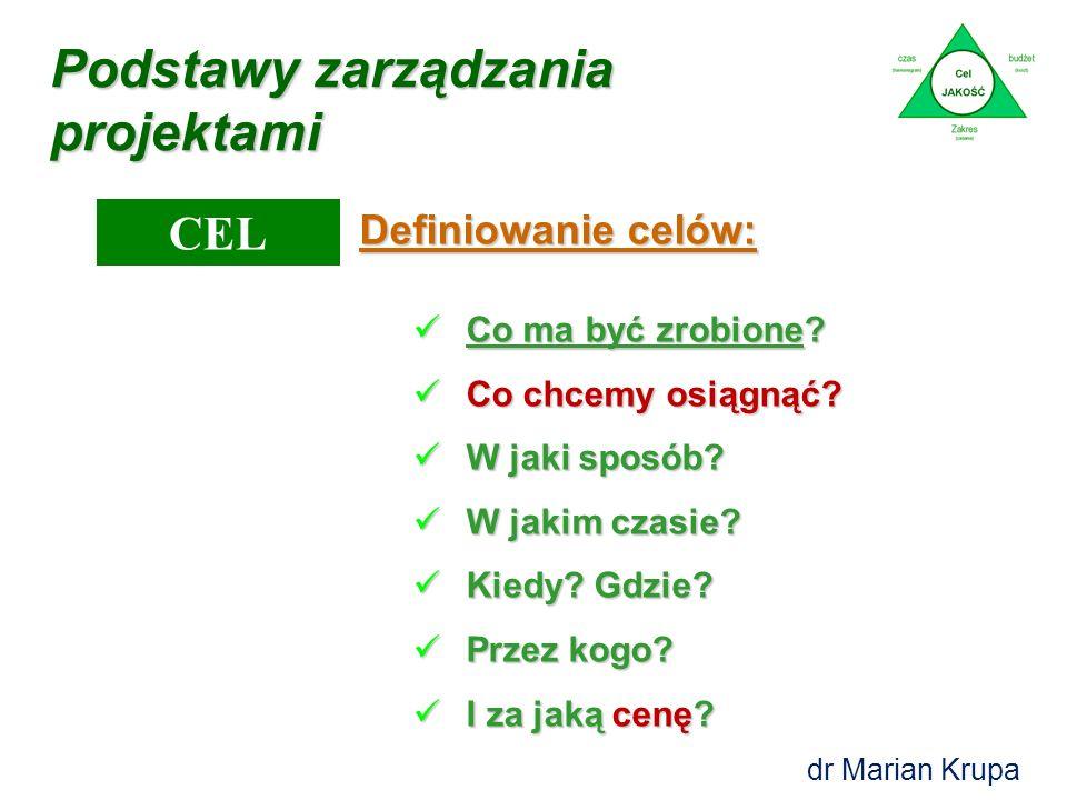 Podstawy zarządzania projektami CEL Cel jest to oczekiwany efekt zorganizowanych działań projektowych. Cel jest to oczekiwany efekt zorganizowanych dz