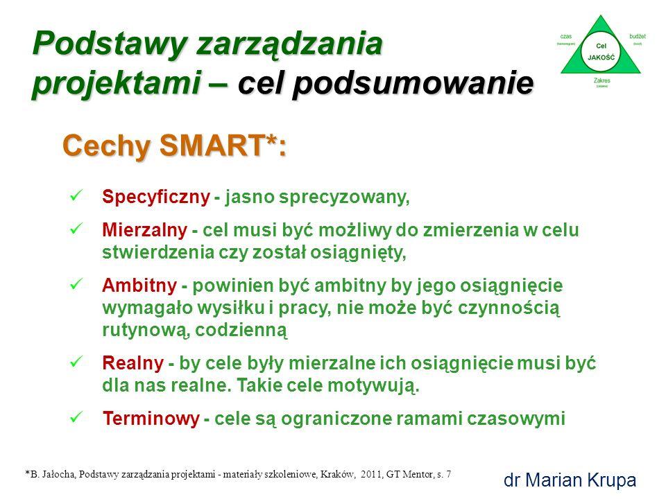 Podstawy zarządzania projektami CEL dr Marian Krupa Matryca celów projektowych [M. Krupa] CEL determinuje charakter projektu !!!