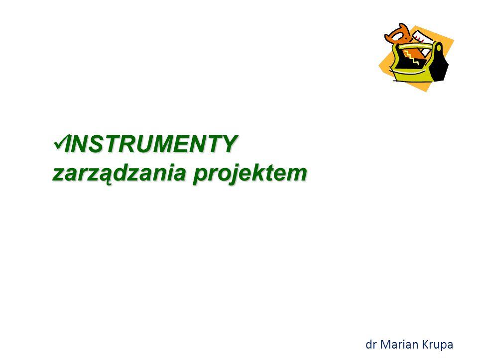 INSTRUMENTY i NARZĘDZIA zarządzania projektem  Instrument – sposób, klasyfikacja, struktura danych, miernik, formuła opracowana na podstawie ogólnej