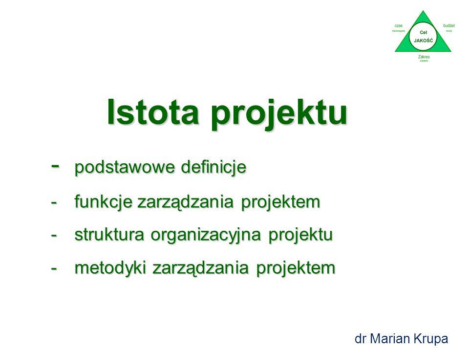 Agenda: 1.Istota projektu – podstawowe definicje, funkcje i metodyki 2.Instrumenty i narzędzia zarządzania projektem -Check List'a -Line of Balance (L