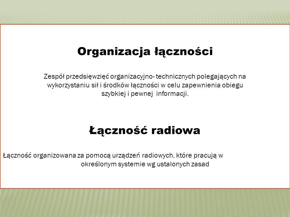 Organizacja łączności Zespół przedsięwzięć organizacyjno- technicznych polegających na wykorzystaniu sił i środków łączności w celu zapewnienia obiegu