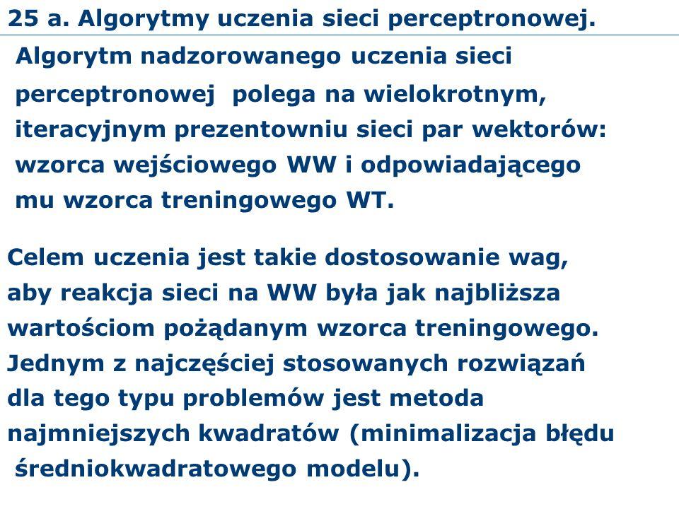 25 a. Algorytmy uczenia sieci perceptronowej.