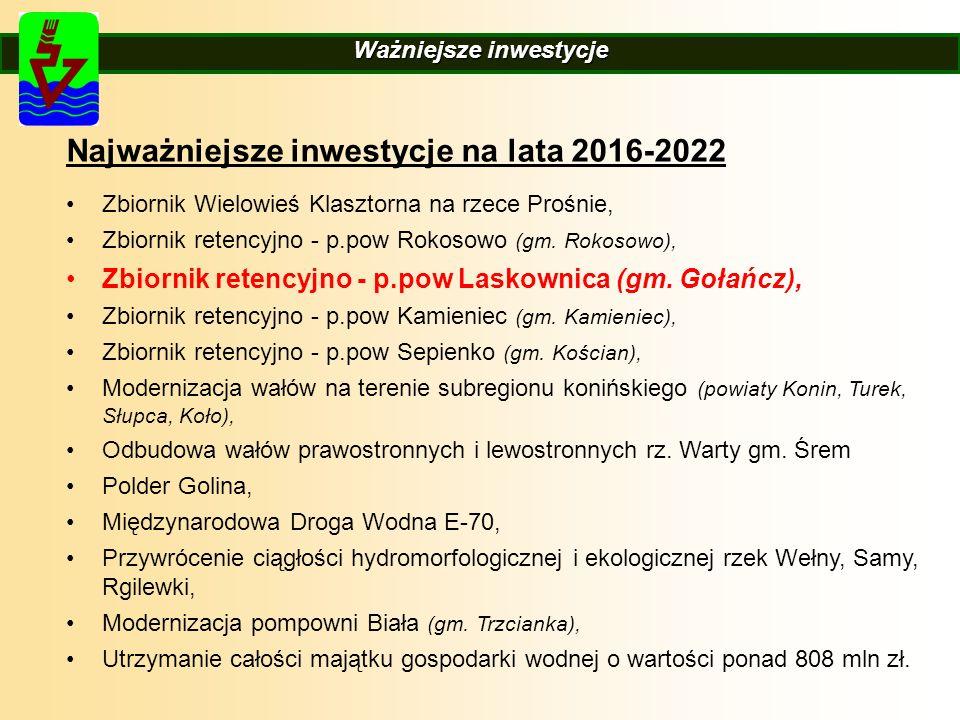 DyrektorzyDyrektorzy Ważniejsze inwestycje Najważniejsze inwestycje na lata 2016-2022 Zbiornik Wielowieś Klasztorna na rzece Prośnie, Zbiornik retencyjno - p.pow Rokosowo (gm.
