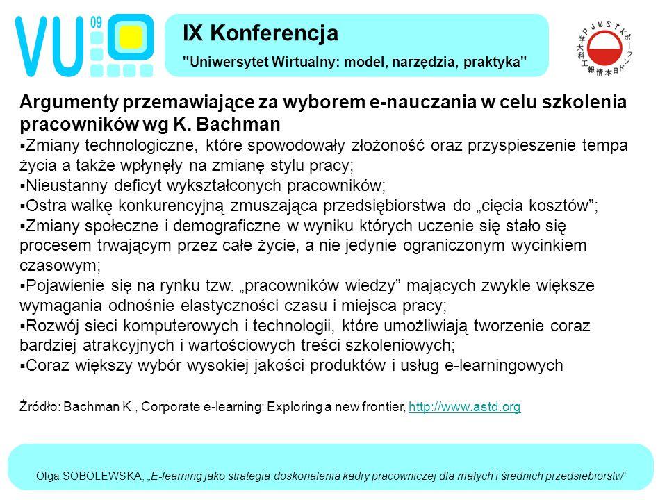 """Olga SOBOLEWSKA, """"E-learning jako strategia doskonalenia kadry pracowniczej dla małych i średnich przedsiębiorstw Argumenty przemawiające za wyborem e-nauczania w celu szkolenia pracowników wg K."""