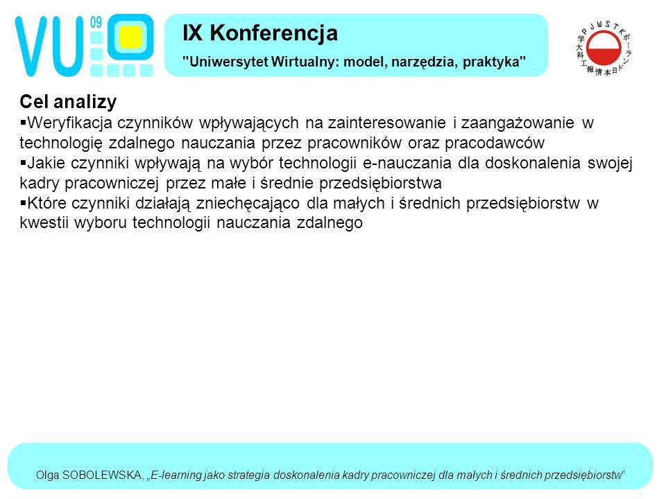 """Olga SOBOLEWSKA, """"E-learning jako strategia doskonalenia kadry pracowniczej dla małych i średnich przedsiębiorstw Cel analizy  Weryfikacja czynników wpływających na zainteresowanie i zaangażowanie w technologię zdalnego nauczania przez pracowników oraz pracodawców  Jakie czynniki wpływają na wybór technologii e-nauczania dla doskonalenia swojej kadry pracowniczej przez małe i średnie przedsiębiorstwa  Które czynniki działają zniechęcająco dla małych i średnich przedsiębiorstw w kwestii wyboru technologii nauczania zdalnego IX Konferencja Uniwersytet Wirtualny: model, narzędzia, praktyka"""