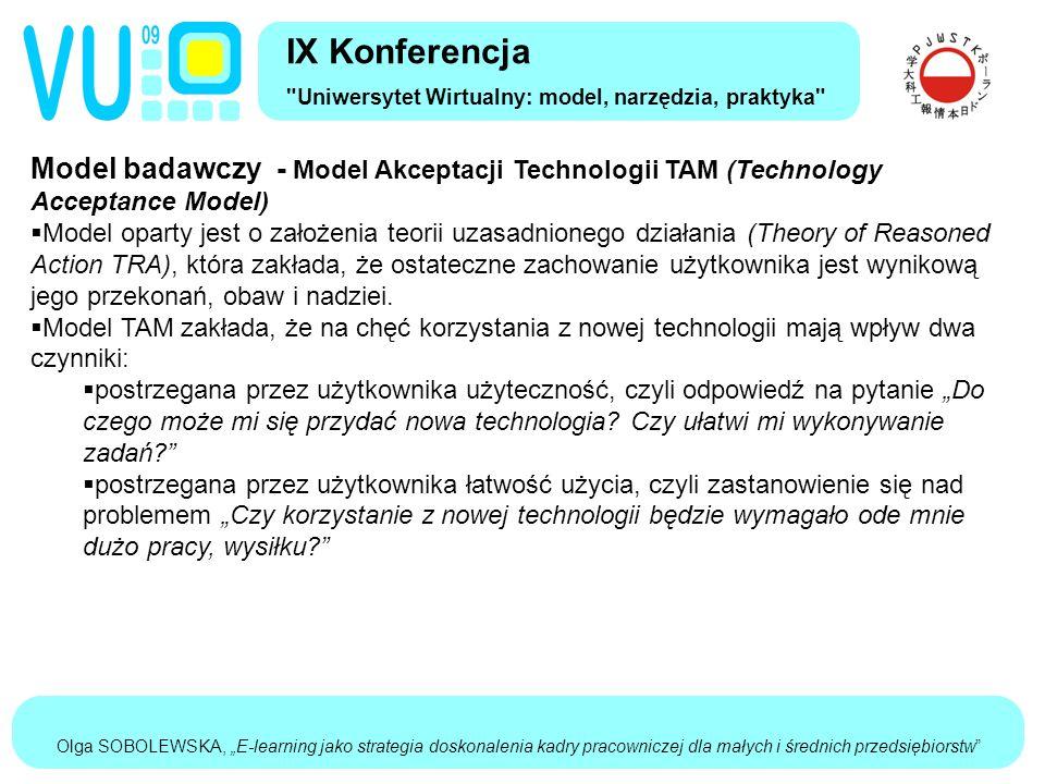 """Olga SOBOLEWSKA, """"E-learning jako strategia doskonalenia kadry pracowniczej dla małych i średnich przedsiębiorstw Model badawczy - Model Akceptacji Technologii TAM (Technology Acceptance Model)  Model oparty jest o założenia teorii uzasadnionego działania (Theory of Reasoned Action TRA), która zakłada, że ostateczne zachowanie użytkownika jest wynikową jego przekonań, obaw i nadziei."""