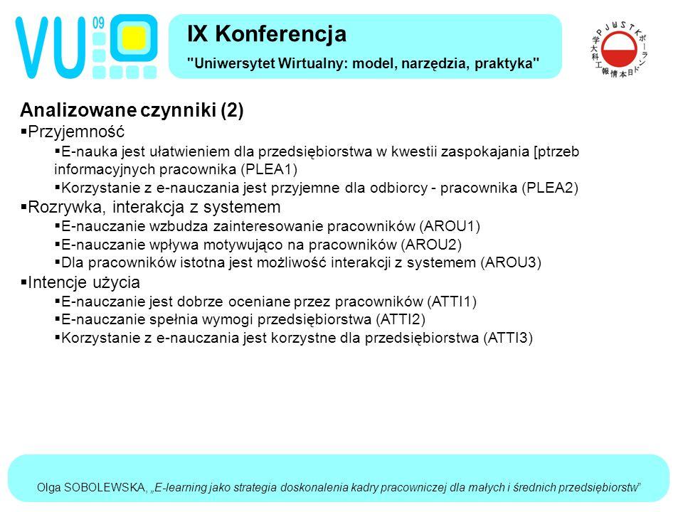 """Olga SOBOLEWSKA, """"E-learning jako strategia doskonalenia kadry pracowniczej dla małych i średnich przedsiębiorstw Analizowane czynniki (2)  Przyjemność  E-nauka jest ułatwieniem dla przedsiębiorstwa w kwestii zaspokajania [ptrzeb informacyjnych pracownika (PLEA1)  Korzystanie z e-nauczania jest przyjemne dla odbiorcy - pracownika (PLEA2)  Rozrywka, interakcja z systemem  E-nauczanie wzbudza zainteresowanie pracowników (AROU1)  E-nauczanie wpływa motywująco na pracowników (AROU2)  Dla pracowników istotna jest możliwość interakcji z systemem (AROU3)  Intencje użycia  E-nauczanie jest dobrze oceniane przez pracowników (ATTI1)  E-nauczanie spełnia wymogi przedsiębiorstwa (ATTI2)  Korzystanie z e-nauczania jest korzystne dla przedsiębiorstwa (ATTI3) IX Konferencja Uniwersytet Wirtualny: model, narzędzia, praktyka"""