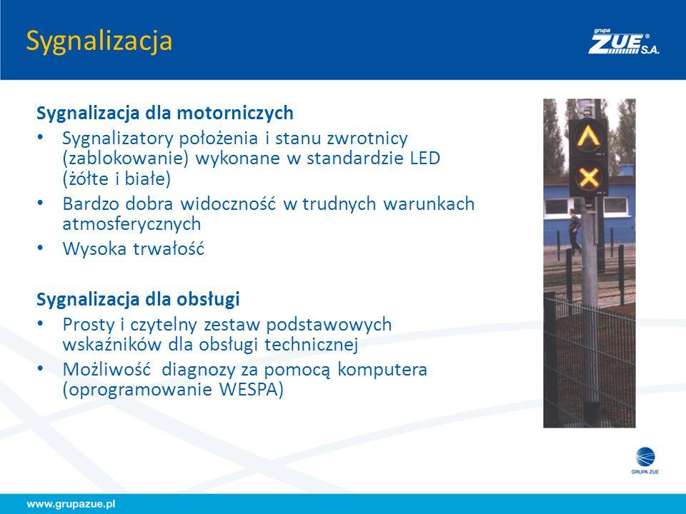 Sygnalizacja Sygnalizacja dla motorniczych Sygnalizatory położenia i stanu zwrotnicy (zablokowanie) wykonane w standardzie LED (żółte i białe) Bardzo