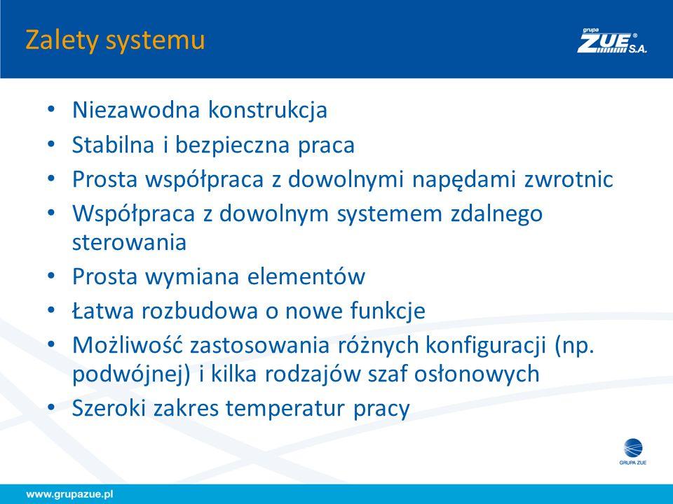 Zalety systemu Niezawodna konstrukcja Stabilna i bezpieczna praca Prosta współpraca z dowolnymi napędami zwrotnic Współpraca z dowolnym systemem zdaln