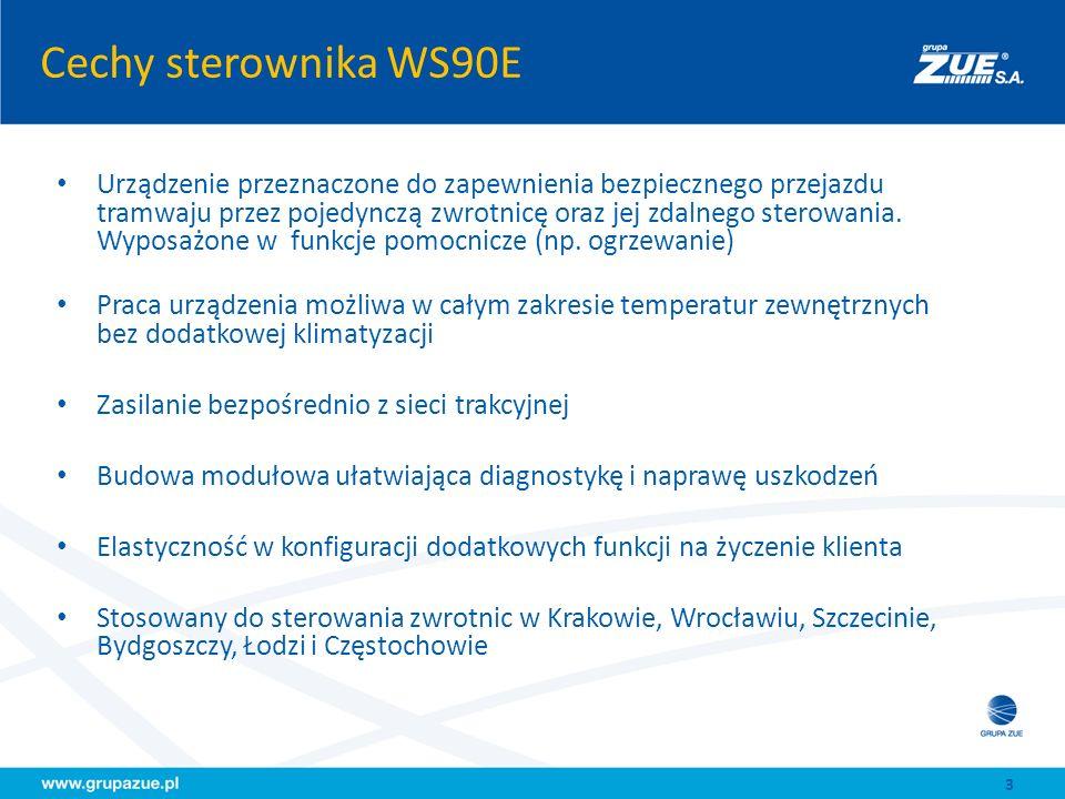 Funkcje i dane techniczne Funkcje sterownika WS90E(M) Bezprzewodowe sterowanie zwrotnicami Zapewnienie bezpieczeństwa przejazdu Wyświetlanie informacji dla motorniczych Sterownie (i monitoring) ogrzewania zwrotnic Współpraca z systemami zewnętrznymi (np.