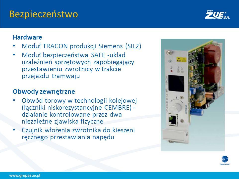 Bezpieczeństwo Dokumenty Dowód bezpieczeństwa wykonany przez Siemens AG dla poziomu SIL2 (AK4) Rekomendacja Instytutu Gospodarki Przestrzennej i Komunalnej Deklaracja CE Obsługa Zasilanie sterownika izolowane galwanicznie od sieci trakcyjnej Bezpieczeństwo przejazdu kontrolowane przez obwód torowy (dwa niezależne zjawiska fizyczne) Czujnik włożenia zwrotnika do kieszeni ręcznego przestawiania napędu