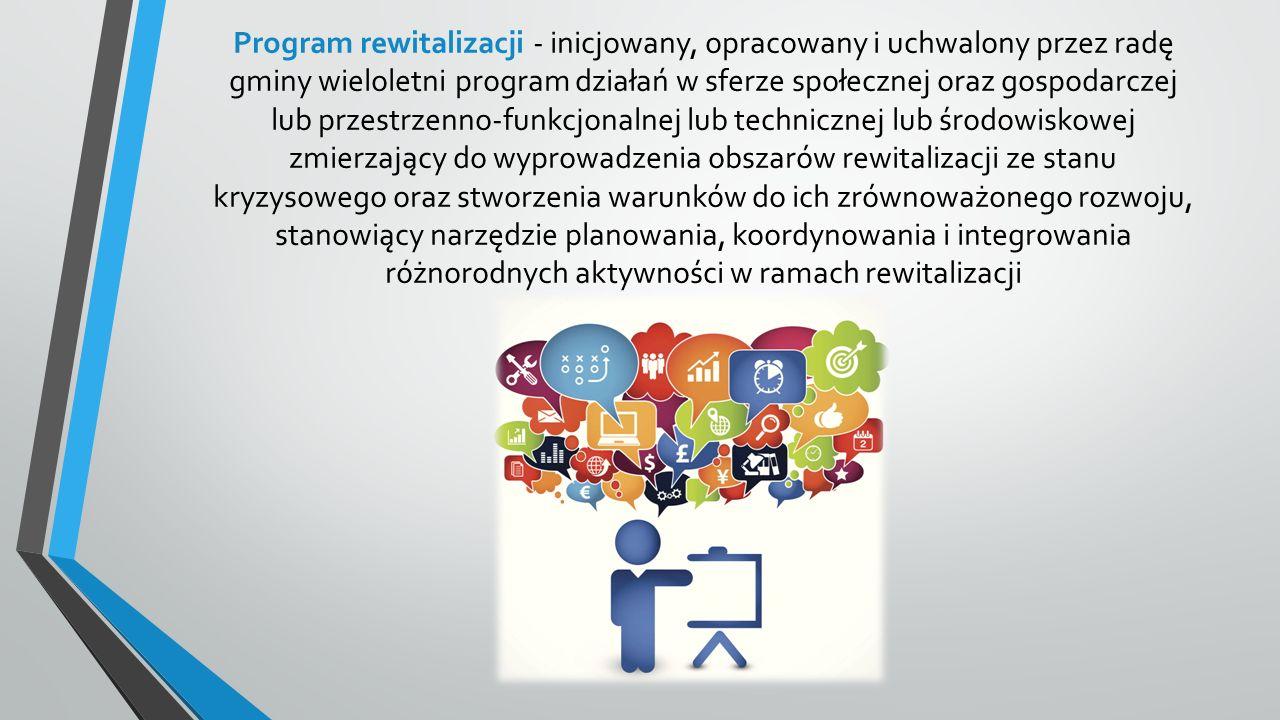Program rewitalizacji - inicjowany, opracowany i uchwalony przez radę gminy wieloletni program działań w sferze społecznej oraz gospodarczej lub przestrzenno-funkcjonalnej lub technicznej lub środowiskowej zmierzający do wyprowadzenia obszarów rewitalizacji ze stanu kryzysowego oraz stworzenia warunków do ich zrównoważonego rozwoju, stanowiący narzędzie planowania, koordynowania i integrowania różnorodnych aktywności w ramach rewitalizacji