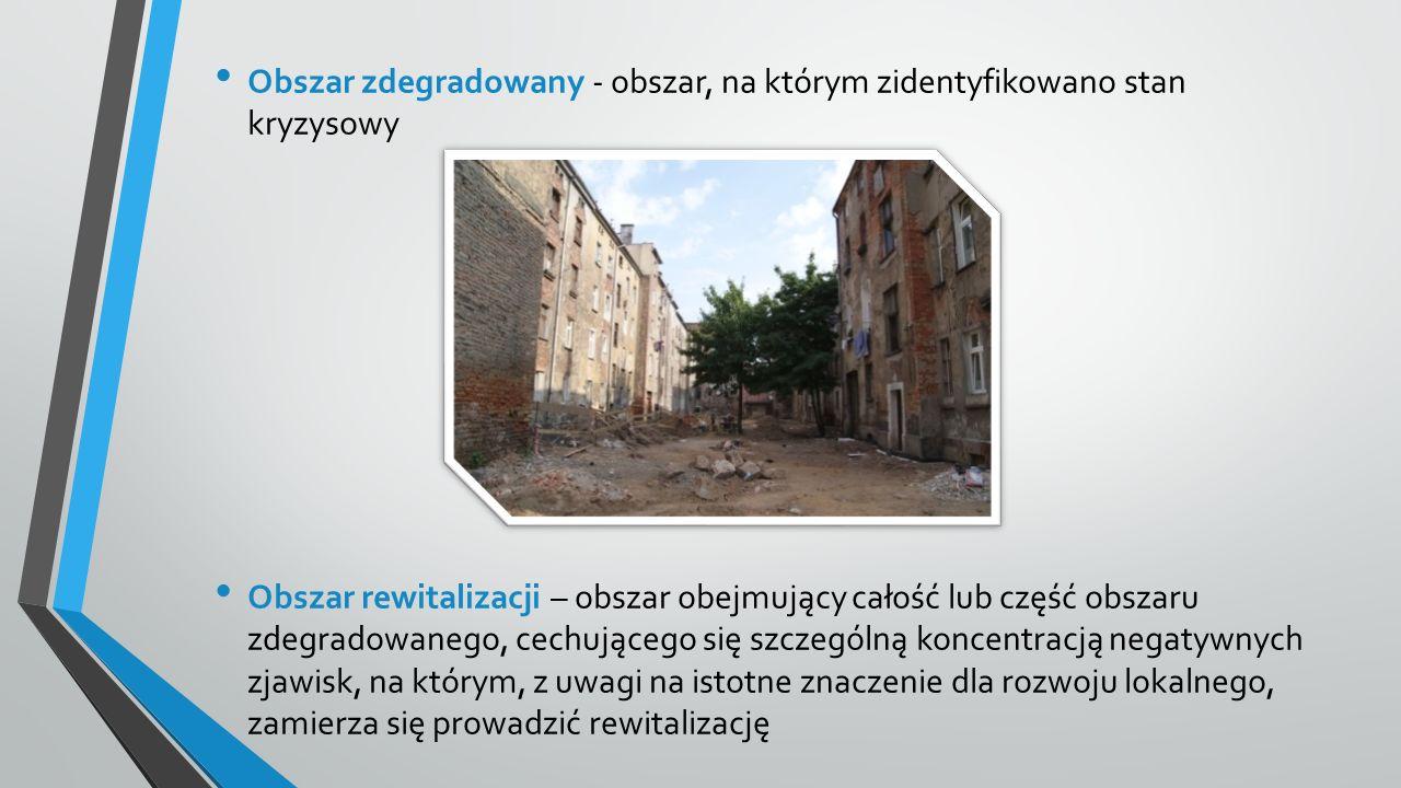 Obszar zdegradowany - obszar, na którym zidentyfikowano stan kryzysowy Obszar rewitalizacji – obszar obejmujący całość lub część obszaru zdegradowanego, cechującego się szczególną koncentracją negatywnych zjawisk, na którym, z uwagi na istotne znaczenie dla rozwoju lokalnego, zamierza się prowadzić rewitalizację
