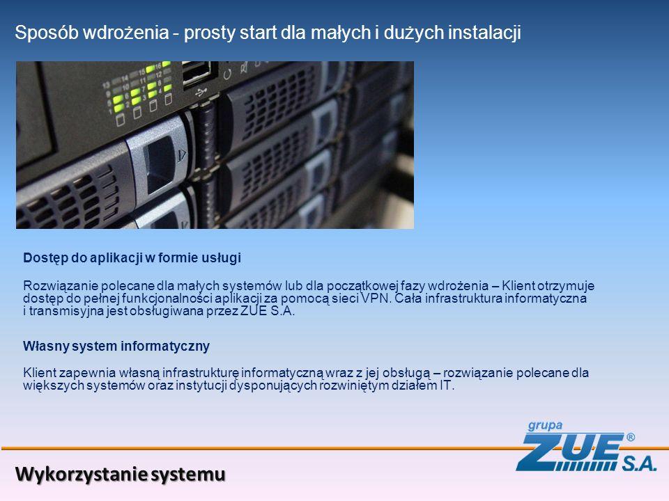 Wykorzystanie systemu Sposób wdrożenia Dostęp do aplikacji w formie usługi - prosty start dla małych i dużych instalacji Własny system informatyczny Rozwiązanie polecane dla małych systemów lub dla początkowej fazy wdrożenia – Klient otrzymuje dostęp do pełnej funkcjonalności aplikacji za pomocą sieci VPN.