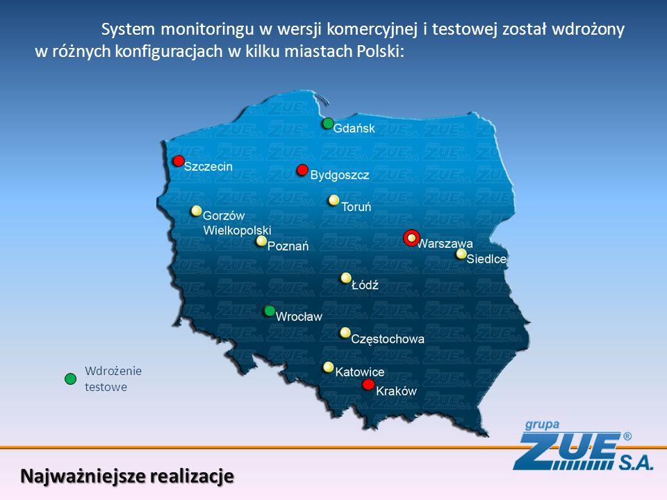 System monitoringu w wersji komercyjnej i testowej został wdrożony w różnych konfiguracjach w kilku miastach Polski: Najważniejsze realizacje Wdrożenie testowe