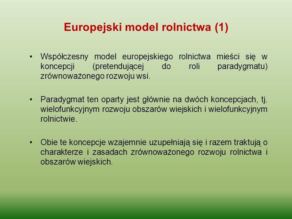 Europejski model rolnictwa (1) Współczesny model europejskiego rolnictwa mieści się w koncepcji (pretendującej do roli paradygmatu) zrównoważonego roz