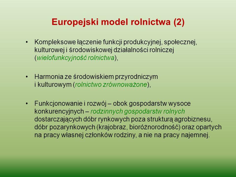 Europejski model rolnictwa (2) Kompleksowe łączenie funkcji produkcyjnej, społecznej, kulturowej i środowiskowej działalności rolniczej (wielofunkcyjn