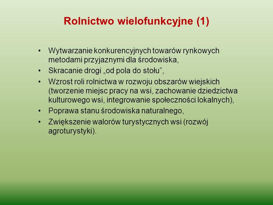 """Rolnictwo wielofunkcyjne (1) Wytwarzanie konkurencyjnych towarów rynkowych metodami przyjaznymi dla środowiska, Skracanie drogi """"od pola do stołu"""", Wz"""