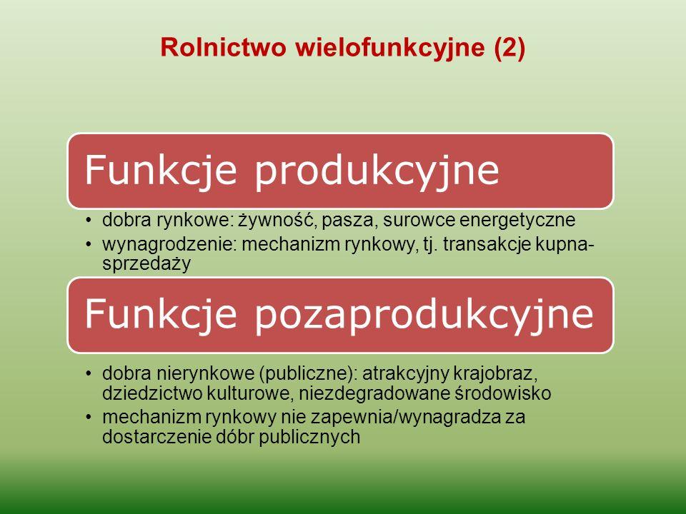 Rolnictwo wielofunkcyjne (2) Funkcje produkcyjne dobra rynkowe: żywność, pasza, surowce energetyczne wynagrodzenie: mechanizm rynkowy, tj. transakcje