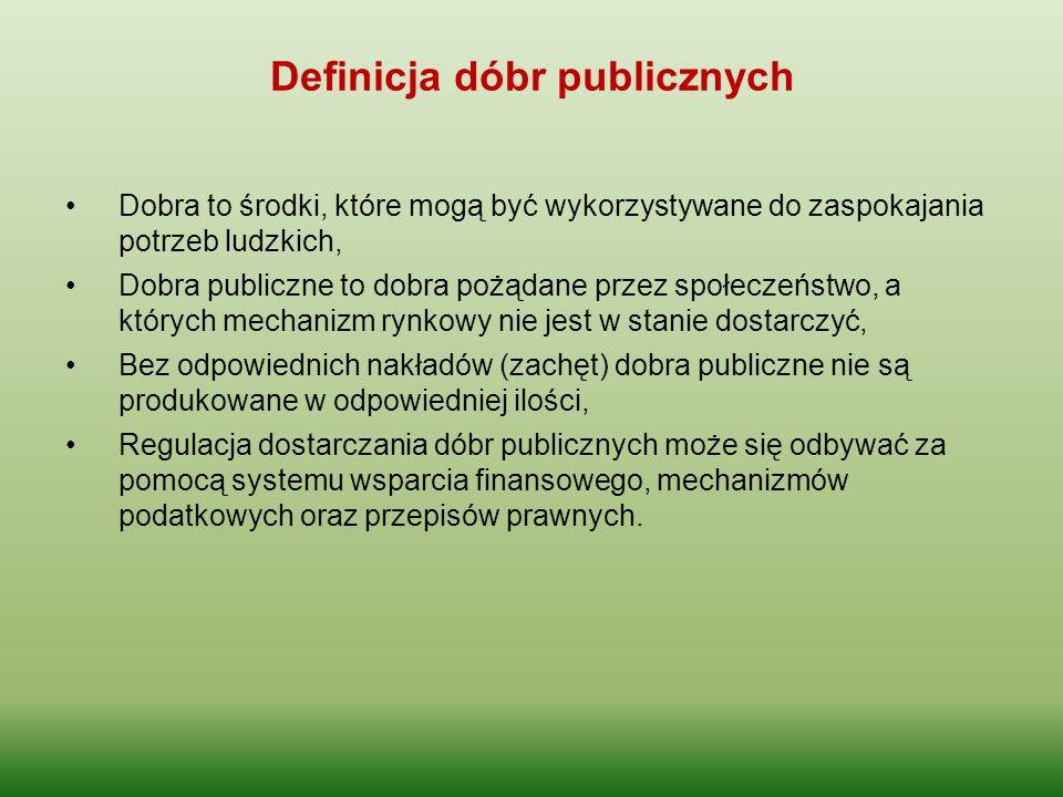 Definicja dóbr publicznych Dobra to środki, które mogą być wykorzystywane do zaspokajania potrzeb ludzkich, Dobra publiczne to dobra pożądane przez sp