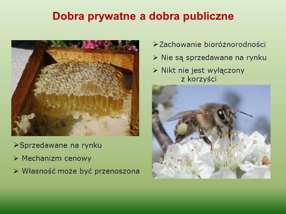 Dobra prywatne a dobra publiczne  Sprzedawane na rynku  Mechanizm cenowy  Własność może być przenoszona  Zachowanie bioróżnorodności  Nie są sprz