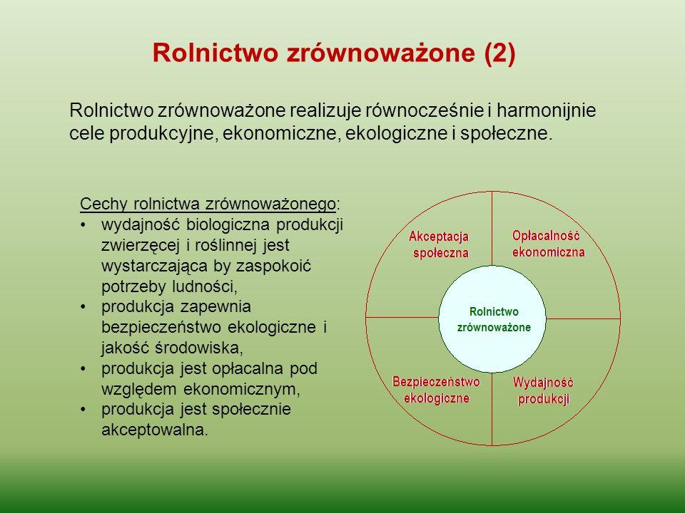 Rolnictwo zrównoważone realizuje równocześnie i harmonijnie cele produkcyjne, ekonomiczne, ekologiczne i społeczne. Rolnictwo zrównoważone (2) Cechy r