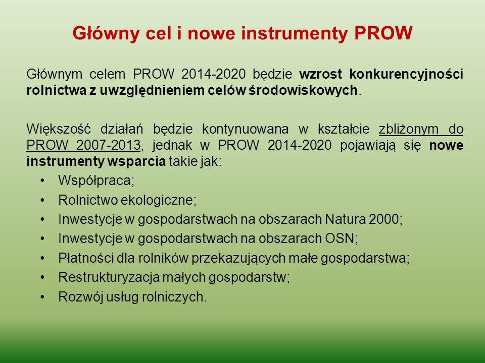 Główny cel i nowe instrumenty PROW Głównym celem PROW 2014-2020 będzie wzrost konkurencyjności rolnictwa z uwzględnieniem celów środowiskowych. Większ
