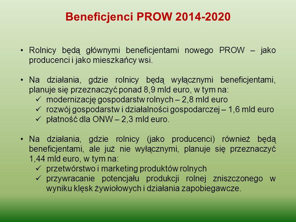 Beneficjenci PROW 2014-2020 Rolnicy będą głównymi beneficjentami nowego PROW – jako producenci i jako mieszkańcy wsi. Na działania, gdzie rolnicy będą