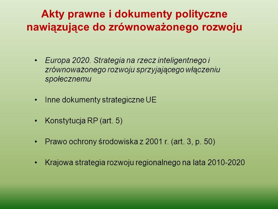Europa 2020. Strategia na rzecz inteligentnego i zrównoważonego rozwoju sprzyjającego włączeniu społecznemu Inne dokumenty strategiczne UE Konstytucja