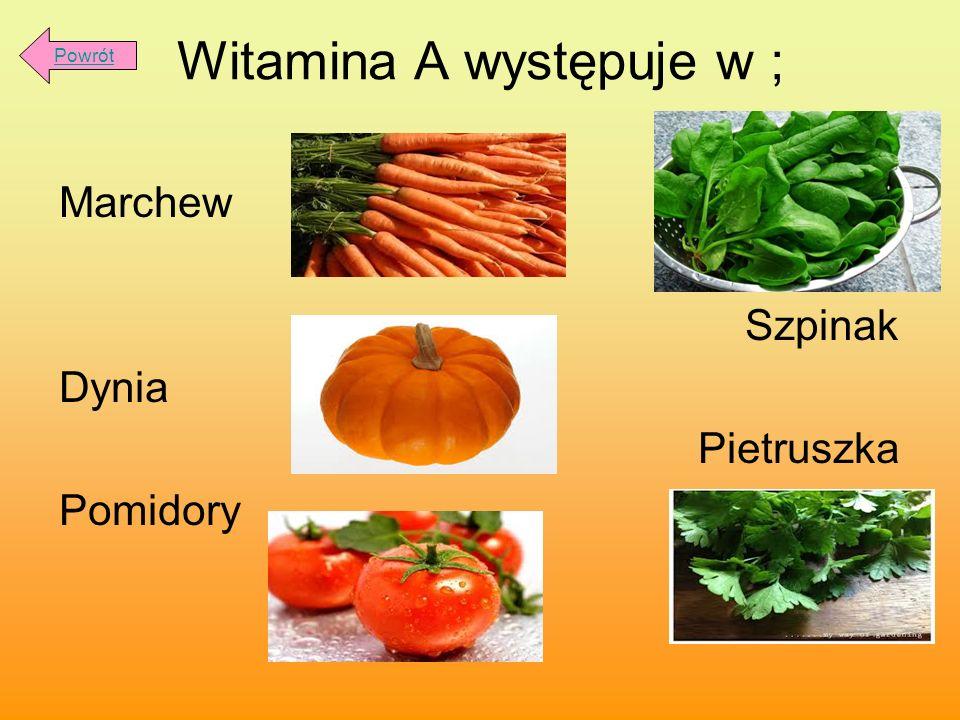 Witamina A występuje w ; Marchew Szpinak Dynia Pietruszka Pomidory Powrót