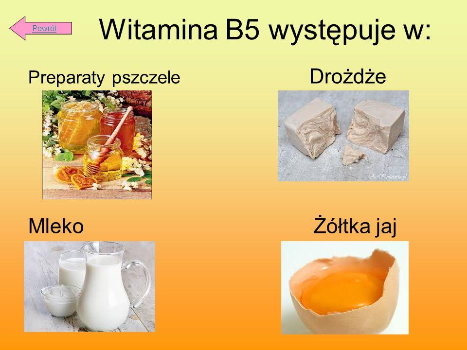 Witamina B5 występuje w: Preparaty pszczele Drożdże Mleko Żółtka jaj Powrót