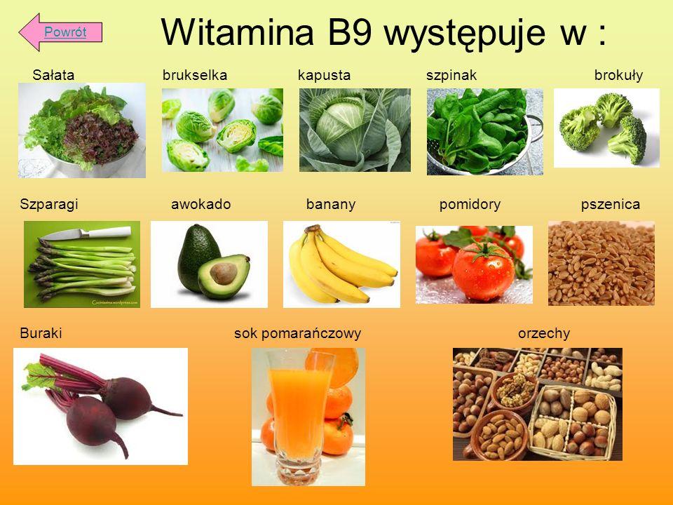 Witamina B9 występuje w : Sałata brukselka kapusta szpinak brokuły Szparagi awokado banany pomidory pszenica Buraki sok pomarańczowy orzechy Powrót