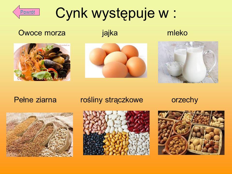 Cynk występuje w : Owoce morza jajka mleko Pełne ziarna rośliny strączkowe orzechy Powrót