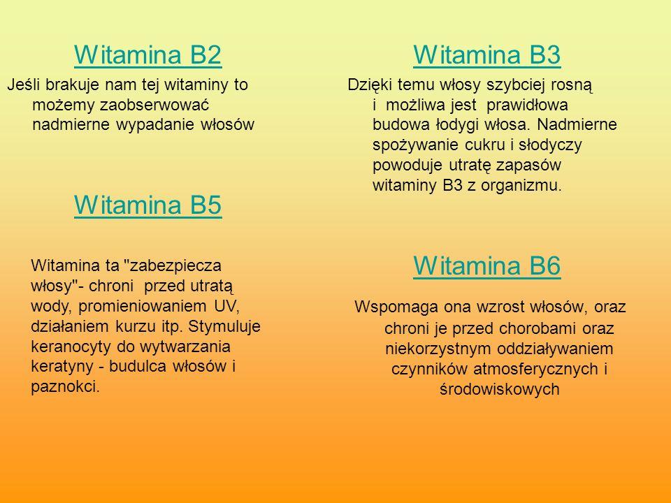 Witamina B2 Jeśli brakuje nam tej witaminy to możemy zaobserwować nadmierne wypadanie włosów Witamina B5 Witamina B3 Dzięki temu włosy szybciej rosną