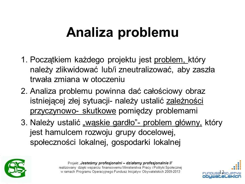 """Projekt """" Jesteśmy profesjonalni – działamy profesjonalnie II realizowany dzięki wsparciu finansowemu Ministerstwa Pracy i Polityki Społecznej w ramach Programu Operacyjnego Fundusz Inicjatyw Obywatelskich 2009-2013 Analiza problemu 1.Początkiem każdego projektu jest problem, który należy zlikwidować lub/i zneutralizować, aby zaszła trwała zmiana w otoczeniu 2.Analiza problemu powinna dać całościowy obraz istniejącej złej sytuacji- należy ustalić zależności przyczynowo- skutkowe pomiędzy problemami 3.Należy ustalić """"wąskie gardło - problem główny, który jest hamulcem rozwoju grupy docelowej, społeczności lokalnej, gospodarki lokalnej 12"""