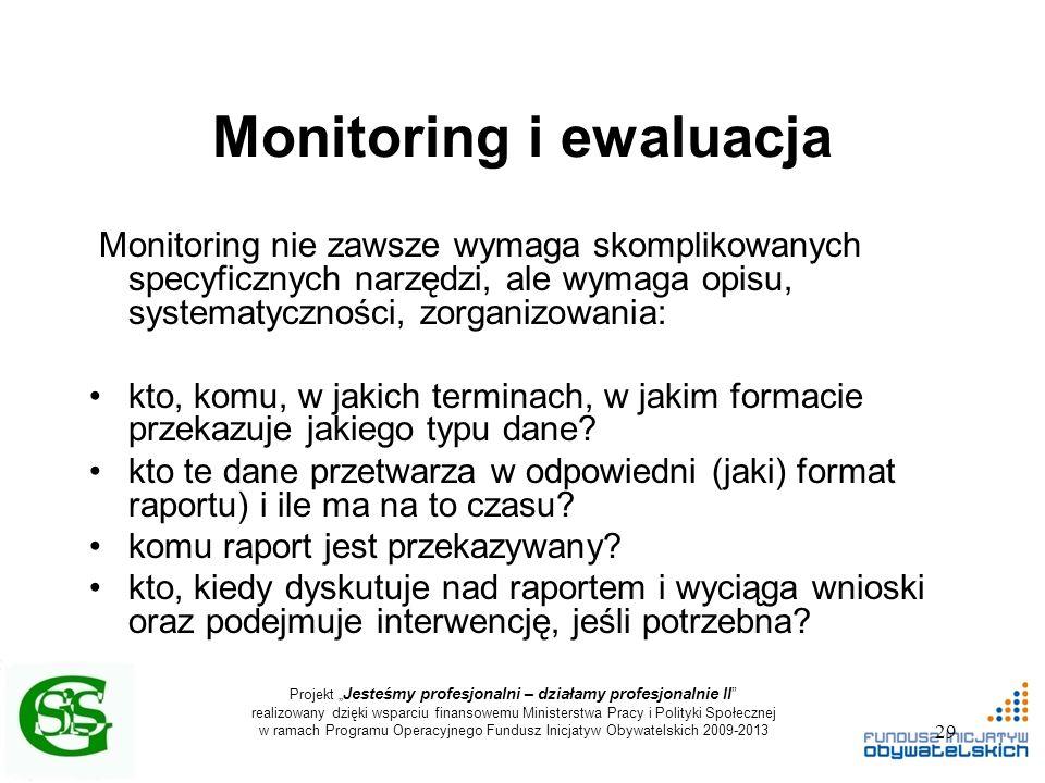 """Projekt """" Jesteśmy profesjonalni – działamy profesjonalnie II realizowany dzięki wsparciu finansowemu Ministerstwa Pracy i Polityki Społecznej w ramach Programu Operacyjnego Fundusz Inicjatyw Obywatelskich 2009-2013 Monitoring i ewaluacja Monitoring nie zawsze wymaga skomplikowanych specyficznych narzędzi, ale wymaga opisu, systematyczności, zorganizowania: kto, komu, w jakich terminach, w jakim formacie przekazuje jakiego typu dane."""