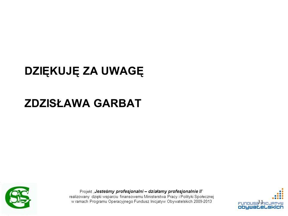 """Projekt """" Jesteśmy profesjonalni – działamy profesjonalnie II realizowany dzięki wsparciu finansowemu Ministerstwa Pracy i Polityki Społecznej w ramach Programu Operacyjnego Fundusz Inicjatyw Obywatelskich 2009-2013 DZIĘKUJĘ ZA UWAGĘ ZDZISŁAWA GARBAT 31"""