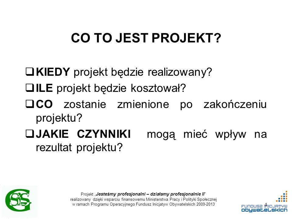 """Projekt """" Jesteśmy profesjonalni – działamy profesjonalnie II realizowany dzięki wsparciu finansowemu Ministerstwa Pracy i Polityki Społecznej w ramach Programu Operacyjnego Fundusz Inicjatyw Obywatelskich 2009-2013 CO TO JEST PROJEKT."""