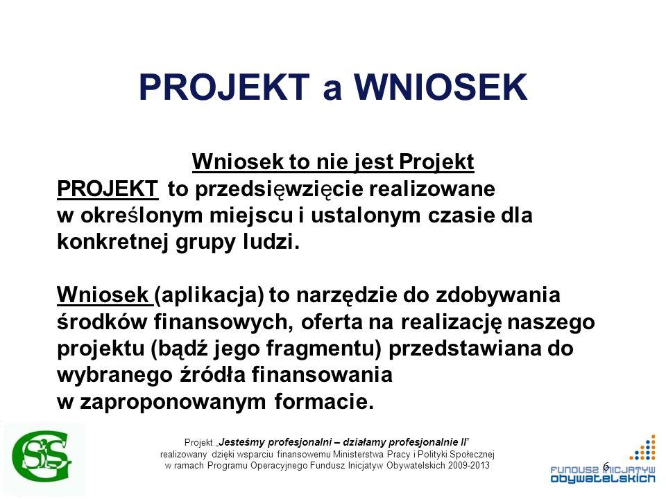 """Projekt """" Jesteśmy profesjonalni – działamy profesjonalnie II realizowany dzięki wsparciu finansowemu Ministerstwa Pracy i Polityki Społecznej w ramach Programu Operacyjnego Fundusz Inicjatyw Obywatelskich 2009-2013 PROJEKT a WNIOSEK Wniosek to nie jest Projekt PROJEKT to przedsięwzięcie realizowane w określonym miejscu i ustalonym czasie dla konkretnej grupy ludzi."""