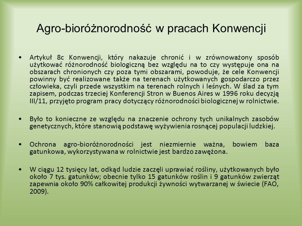 Agro-bioróżnorodność w pracach Konwencji Artykuł 8c Konwencji, który nakazuje chronić i w zrównoważony sposób użytkować różnorodność biologiczną bez w
